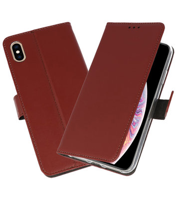 Bruin Wallet Cases Hoesje voor iPhone XS Max