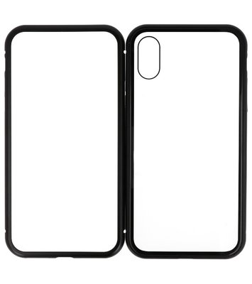 Magnetic Back Cover voor iPhone XS Zwart - Transparant