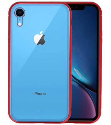 Magnetic Back Cover voor iPhone XR Rood - Transparant