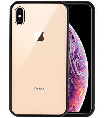 Magnetic Back Cover voor iPhone XS Max Zwart - Transparant