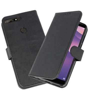 Bookstyle Wallet Cases Hoesje voor Huawei Y7 2018 / Y7 Prime Zwart