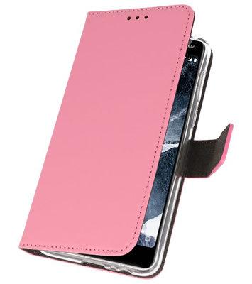 Wallet Cases Hoesje voor Nokia 5.1 Roze
