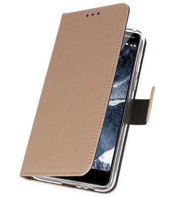 Wallet Cases Hoesje voor Nokia 5.1 Goud