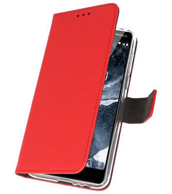 Wallet Cases Hoesje voor Nokia 5.1 Rood