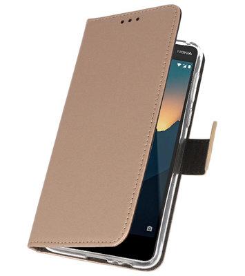 Wallet Cases Hoesje voor Nokia 2.1 Goud
