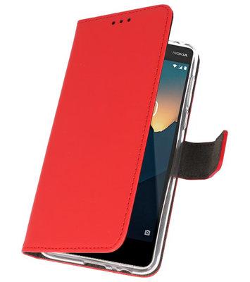 Wallet Cases Hoesje voor Nokia 2.1 Rood