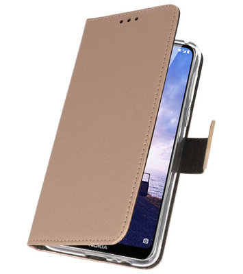 Wallet Cases Hoesje voor Nokia X6 6.1 Plus Goud
