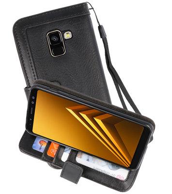Luxe Portemonnee Telefoonhoesje voor Galaxy A8 2018 Zwart
