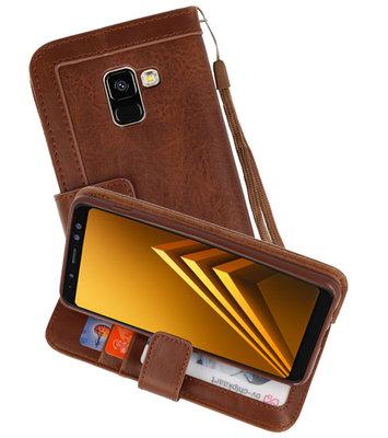 Luxe Portemonnee Telefoonhoesje voor Galaxy A8 2018 Bruin