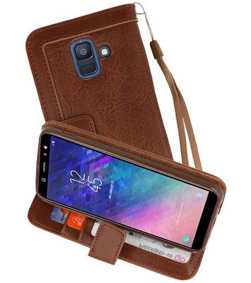 Luxe Portemonnee Telefoonhoesje voor Galaxy A6 2018 Bruin