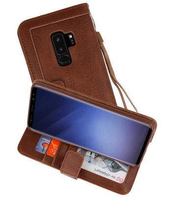 Luxe Portemonnee Telefoonhoesje voor Galaxy S9 Plus Bruin