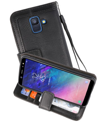 Luxe Portemonnee Telefoonhoesje voor Galaxy A6 2018 Zwart
