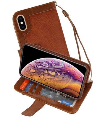 Luxe Portemonnee Telefoonhoesje voor iPhone XS Max Bruin
