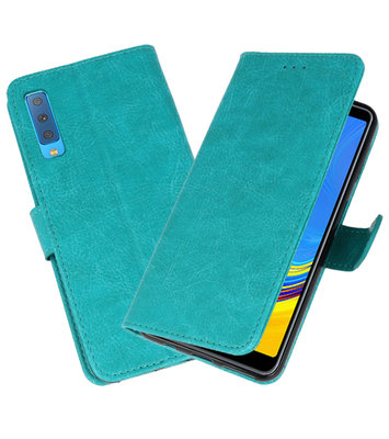 Bookstyle Wallet Cases Hoesje voor Samsung Galaxy A7 2018 Groen