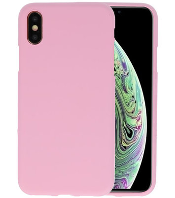 Color TPU Hoesje voor iPhone XS / X Roze