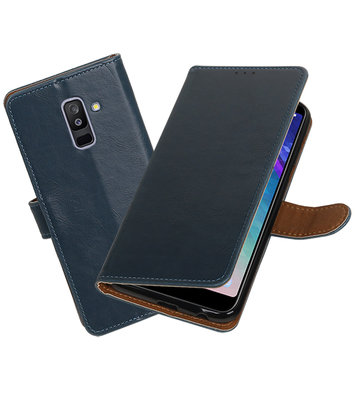 Hoesje voor Samsung Galaxy A6 Plus 2018 Pull-Up Booktype Blauw