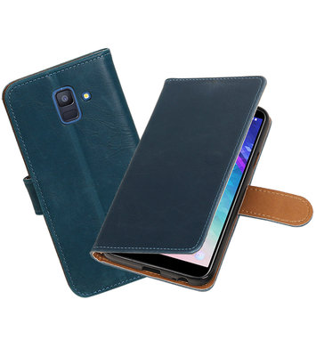 Hoesje voor Samsung Galaxy A6 2018 Pull-Up Booktype Blauw