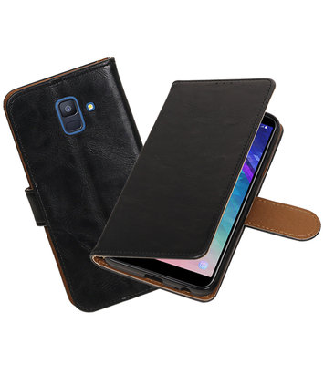 Hoesje voor Samsung Galaxy A6 2018 Pull-Up Booktype Zwart