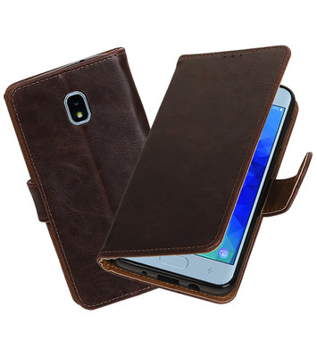 Hoesje voor Samsung Galaxy J3 (2018) Pull-Up Booktype Mocca