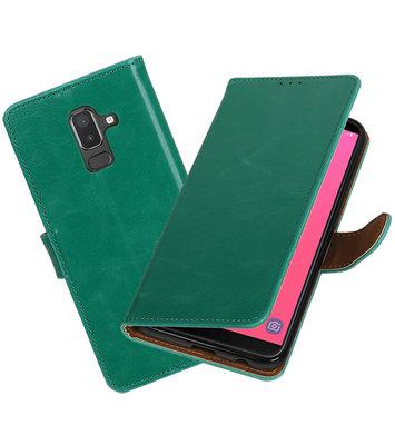Hoesje voor Samsung Galaxy J8 Pull-Up Booktype Groen
