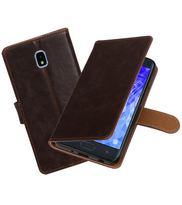 Hoesje voor Galaxy J7 (2018) Pull-Up Booktype Mocca