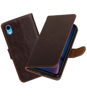 Hoesje voor iPhone XR Pull-Up Booktype Mocca