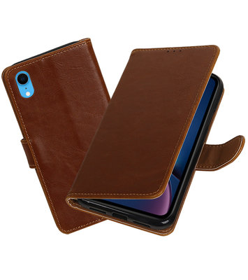 Hoesje voor iPhone XR Pull-Up Booktype Bruin