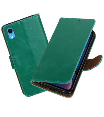 Hoesje voor iPhone XR Pull-Up Booktype Groen