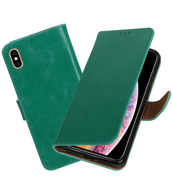 Hoesje voor iPhone XS Max Pull-Up Booktype Groen