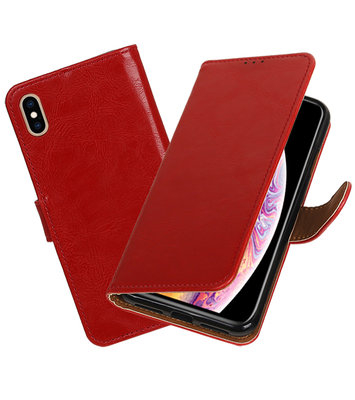 Hoesje voor iPhone XS Max Pull-Up Booktype Rood