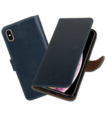 Hoesje voor iPhone XS Max Pull-Up Booktype Blauw