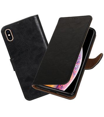 Hoesje voor iPhone XS Max Pull-Up Booktype Zwart