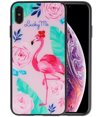 Print Hardcase voor iPhone XS Max Lucky Me Flamingo