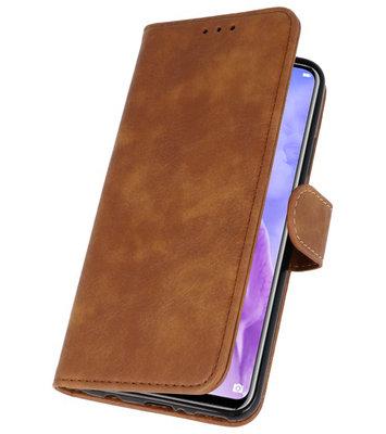 Bruin Booktype Wallet Cases Hoes voor Huawei P20 Lite