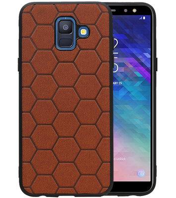 Hexagon Hard Case voor Samsung Galaxy A6 2018 Bruin