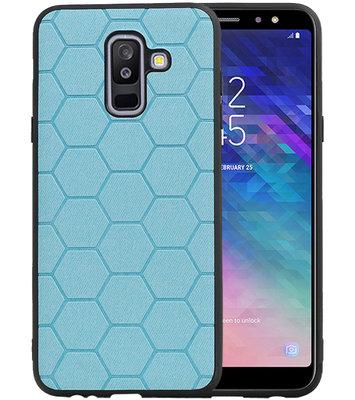 Hexagon Hard Case voor Samsung Galaxy A6 Plus 2018 Blauw
