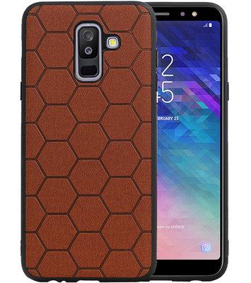 Hexagon Hard Case voor Samsung Galaxy A6 Plus 2018 Bruin