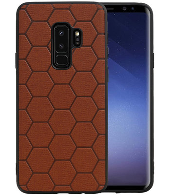 Hexagon Hard Case voor Samsung Galaxy S9 Plus Bruin