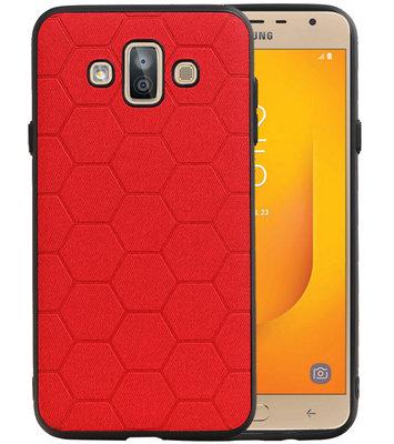 Hexagon Hard Case voor Samsung Galaxy J7 Duo J720F Rood