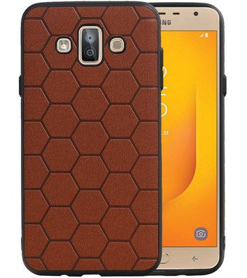 Hexagon Hard Case voor Samsung Galaxy J7 Duo J720F Bruin