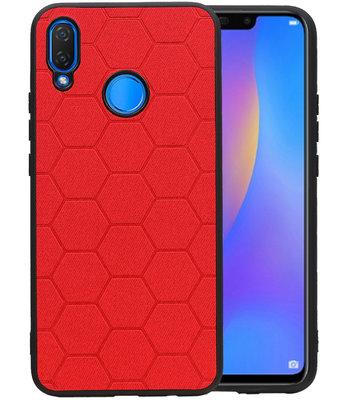 Hexagon Hard Case voor Huawei P Smart Plus Rood