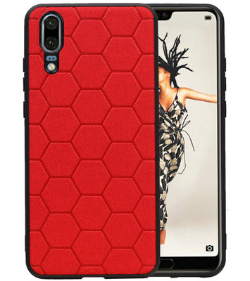 Hexagon Hard Case voor Huawei P20 Rood