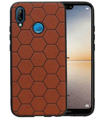 Hexagon Hard Case voor Huawei P20 Lite Bruin