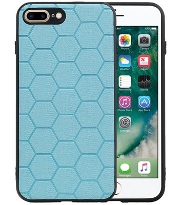 Hexagon Hard Case voor iPhone 8 Plus / iPhone 7 Plus Blauw