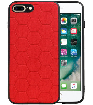Hexagon Hard Case voor iPhone 8 Plus / iPhone 7 Plus Rood