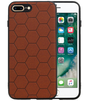 Hexagon Hard Case voor iPhone 8 Plus / iPhone 7 Plus Bruin