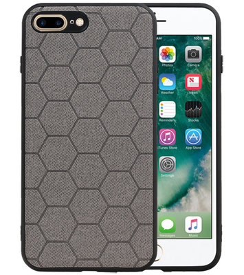 Hexagon Hard Case voor iPhone 8 Plus / iPhone 7 Plus Grijs