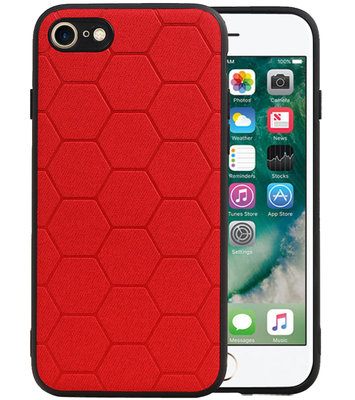 Hexagon Hard Case voor iPhone 8 / iPhone 7 Rood