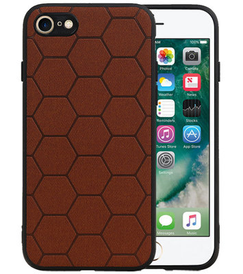 Hexagon Hard Case voor iPhone 8 / iPhone 7 Bruin