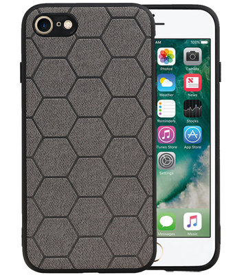 Hexagon Hard Case voor iPhone 8 / iPhone 7 Grijs